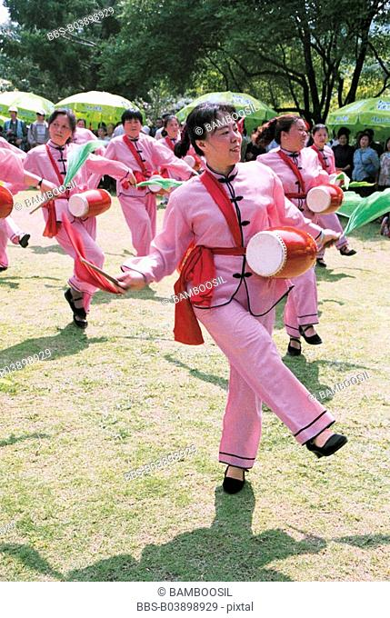 Waistdrum Players for Banyan Festival Held in Forest Park, Fuzhou City, Fujian Province, People's Republic of China