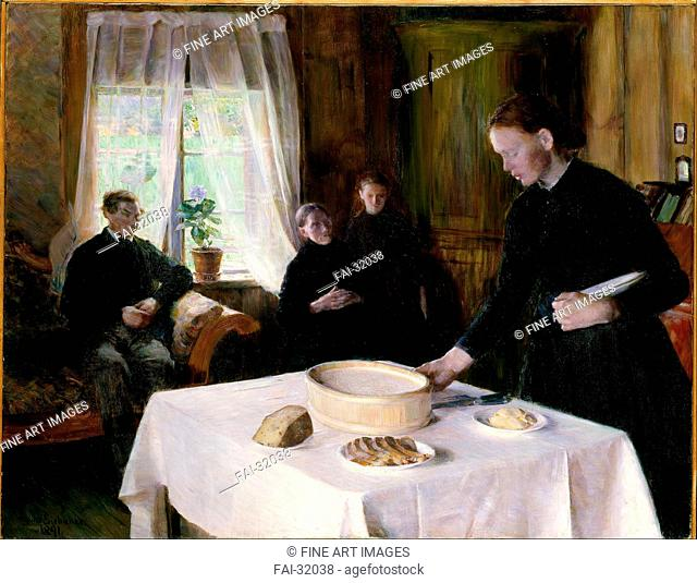 Laying the Table by Eiebakke, August (1867-1938)/Oil on canvas/Realism/1891/Norway/National Museum of Art, Oslo/93,5x120/Genre/Painting/Die Tischdeckung von...