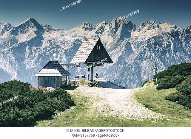Mountains landscape in summer. Velika Planina sky area. Upper Carniola region. Slovenia, Europe