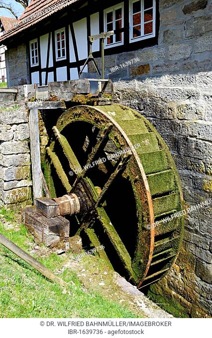 Karstmuehle mill, water mill from Wohlmuthausen, museum of Henneberg, Kloster Vessra, Thuringia, Germany, Europe