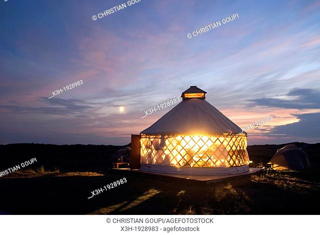 yurt encampment of Vert et Mer, Ile du Havre aux Maisons, Magdalen Islands, Gulf of Saint Lawrence, Quebec province, Canada, North America