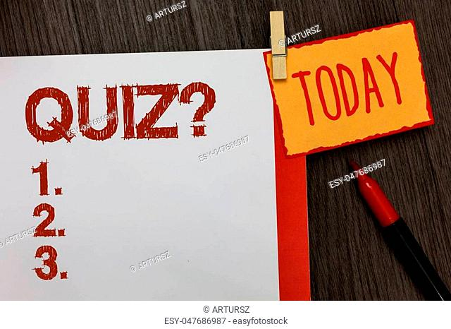 Word writing text Quiz Question. Business concept for Short Tests Evaluation Examination to quantify your knowledge Work dairy marker pen listed paper colour...