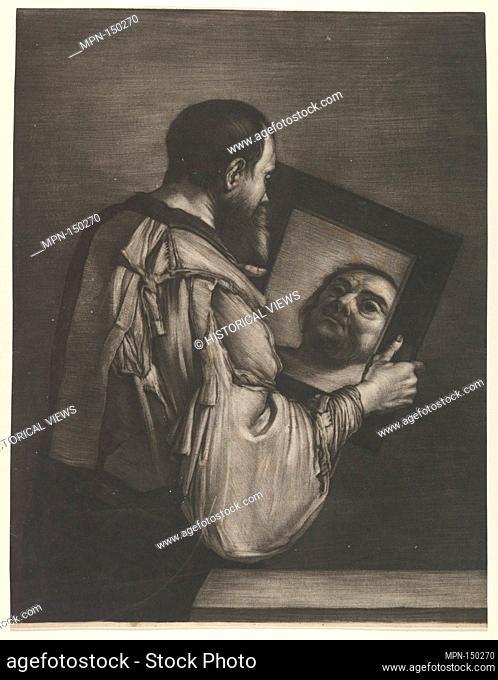Socrates Looking in a Mirror. Artist: Bernard Vaillant (Dutch, Lille 1632-1698 Leyden); Artist: after Jusepe de Ribera (called Lo Spagnoletto) (Spanish