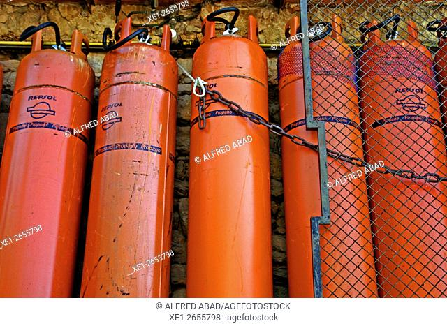 Bottles of propane gas for industrial use