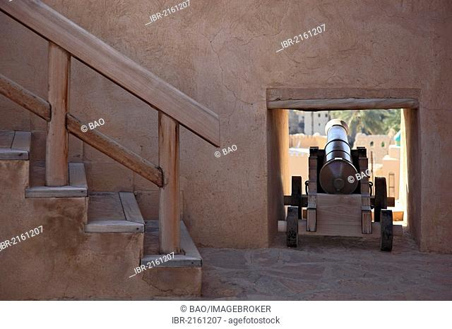 Cannon platform in Fort Nizwa, Oman, Arabian Peninsula, Middle East, Asia