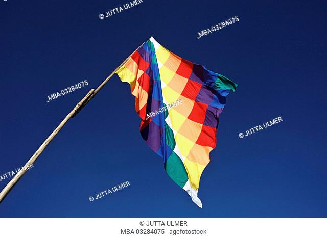 Bolivia, Tiahuanaco, Andean New Year's festival, flag of indigenous people of Latin America