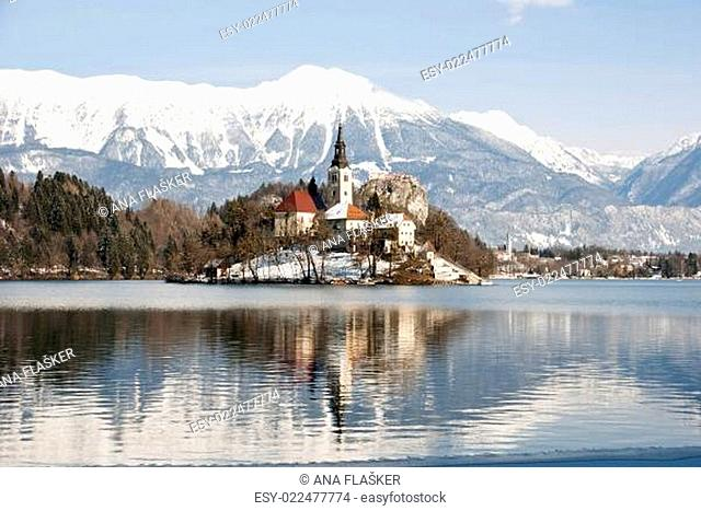 Lake Bled with castle behind, Bled, Slovenia