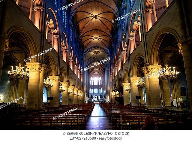 PARIS, FRANCE - AUGUST 24, 2016 : Interior of ancient cathedral Notre Dame de Paris, France