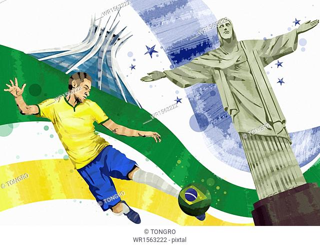 a Brazilian football player next to the statue of Christ