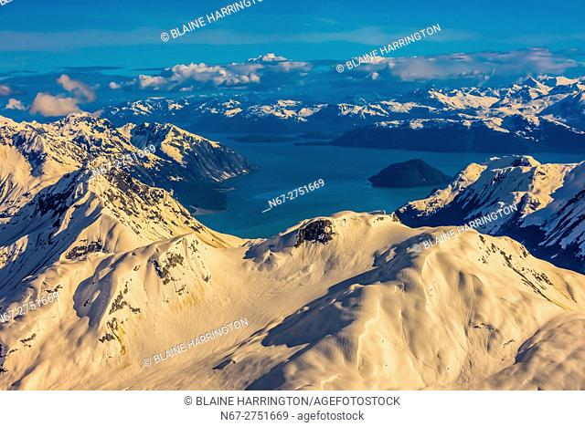 Aerial views above Glacier Bay National Park, southeast Alaska USA. Glacier Bay is a UNESCO World Heritage Site