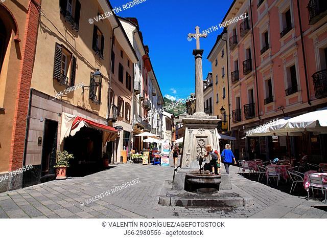 Via Croce di Città in Aosta. Italy