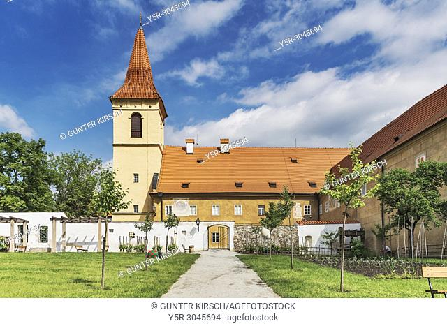 The Minorite monastery with the Baroque Chapel of Maria Einsiedeln is located in the town of Cesky Krumlov on the Vltava River in Bohemia, Jihocesky kraj