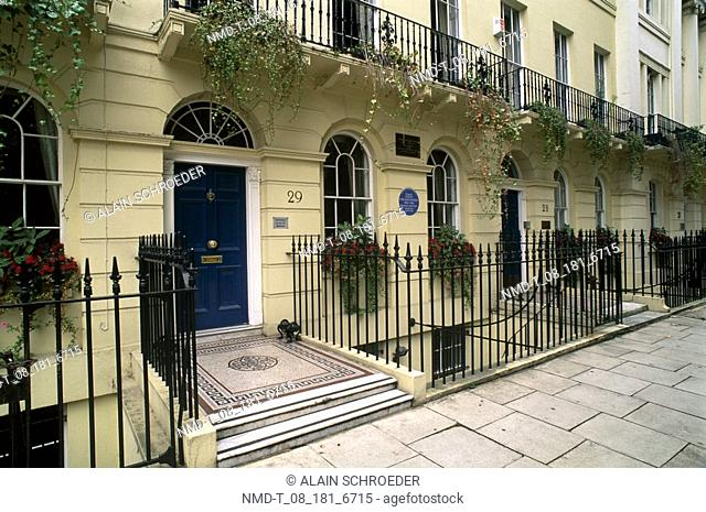 Entrance of a house, Fitzroy Square, London, England
