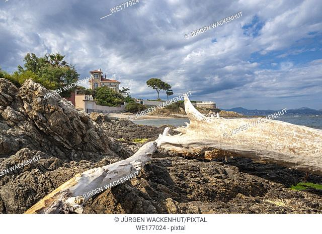 Landscape with villa on the coastal path, Saint-Aygulf, Var, Provence-Alpes-Cote d`Azur, France, Europe