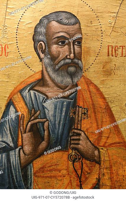 Icon in Pedoulas Byzantine museum : Saint Peter (17th century)