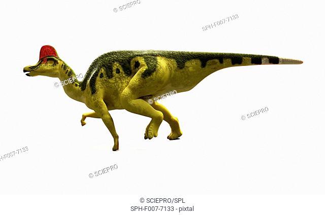 Hadrosaurus dinosaur, computer artwork