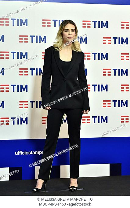 Italian journalist Melissa Greta Marchetto at pre festival photocall at the Press Conference of the 69th Sanremo Music Festival