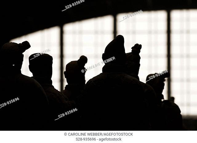 silhouettes of the Terra Cotta Warriors in Xi'an China