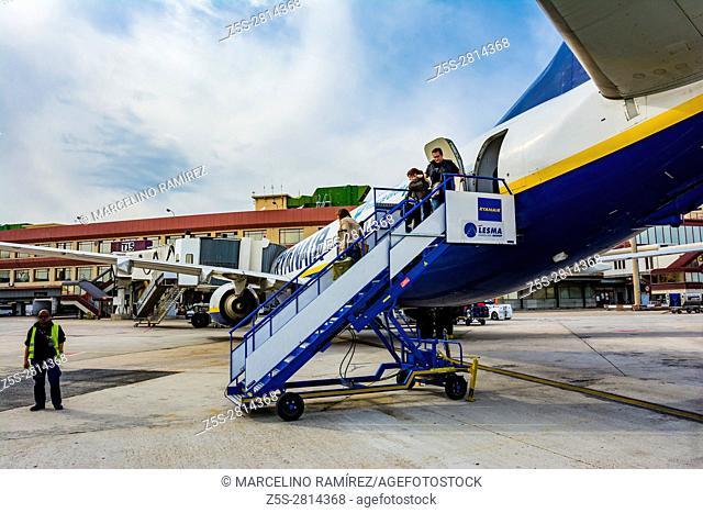 Airport of Madrid Barajas Adolfo Suárez. Disembarking from a RyanAir flight. Madri, Spain, Europe