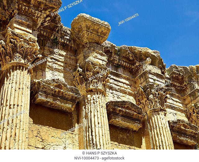 Temple of Bacchus, detail of columns with capitals, ancient city of Baalbek, Lebanon, Middle East