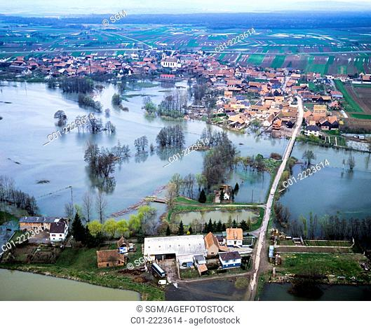 Aerial view of flood and Nordhouse village Alsace France