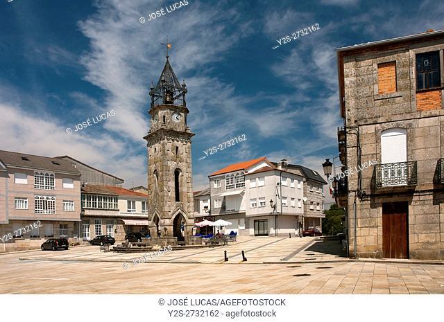 Main Square and Clock Tower, San Cristovo de Cea, Orense province, Region of Galicia, Spain, Europe