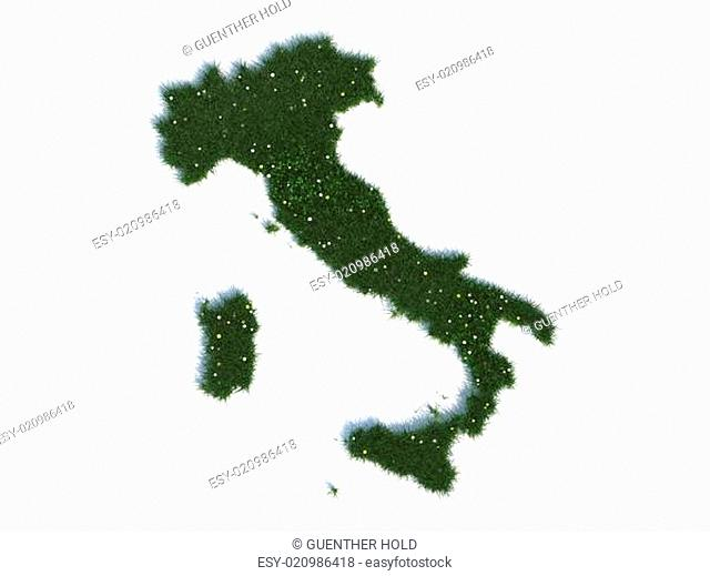 Map of Italy Series Countries out of realistic Grass