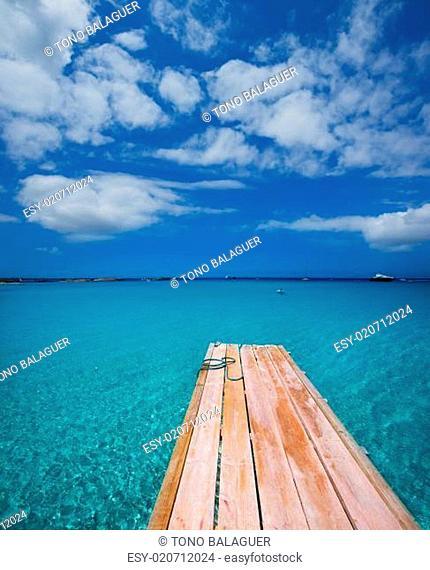 Formentera Ses Illetes beach pier Illetas and Ibiza