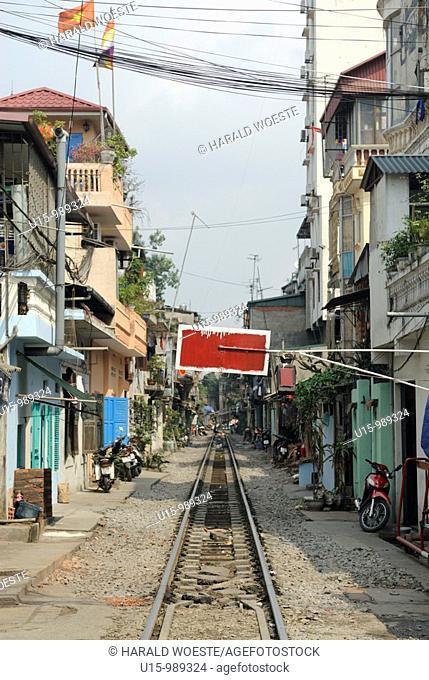 Railway track leading through Hanoi's centre, Vietnam