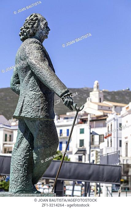 Sculpture Salvador Dali by sculptor Ros Sabate, in Cadaques,village of Costa Brava