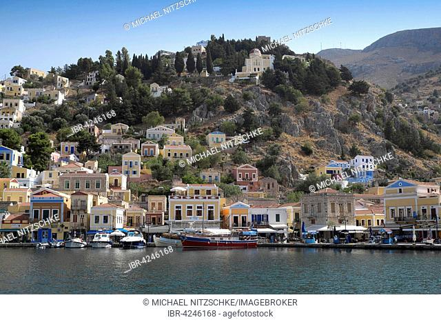 The port of Sými, island of Sými, Rhodes, Dodecanese, Greece