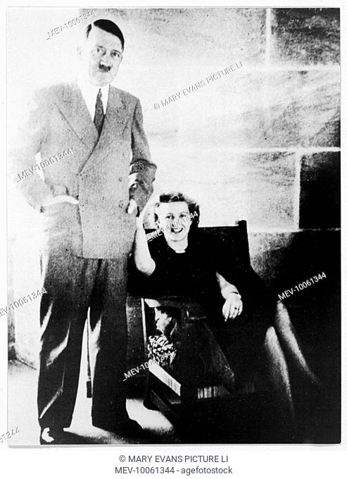 German fuhrer, Adolf Hitler, in relaxed pose with his mistress Eva Braun (1912-1945), at his mountain home, The Berghof