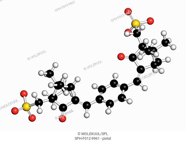 Ecamsule sunscreen molecule (UV filter). Atoms are represented as spheres with conventional colour coding: hydrogen (white), carbon (black), oxygen (red)