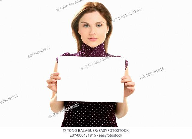 Businesswoman with white copy space in her hands