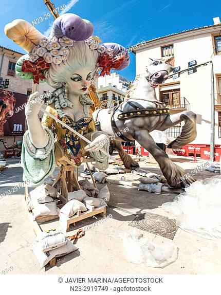 Falla of Pilar square, Valencia, España. The Falles is a traditional celebration held in commemoration of Saint Joseph in the city of Valencia, Spain