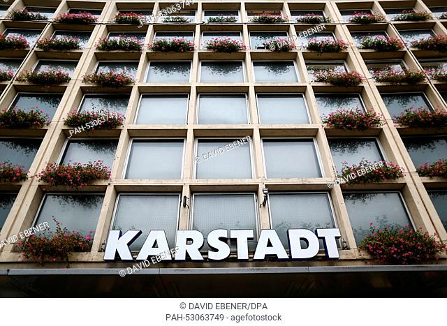 The logo of Karstadt is pictured above the entrance of a subsidiary of the store chain in Bayreuth, Germany, 23 October 2014