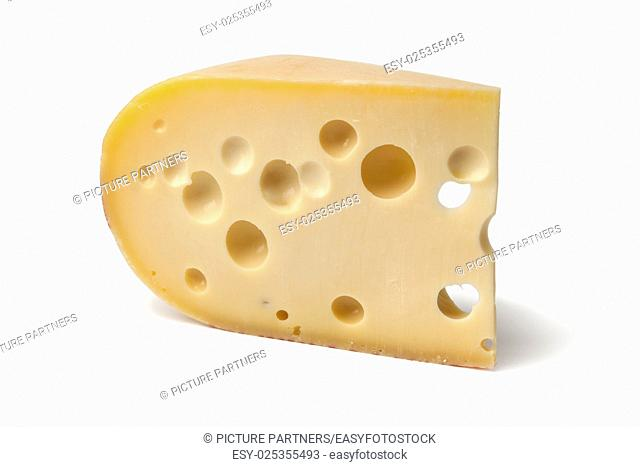 Piece of emmenthaler cheese on white background