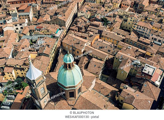 Italy, Bologna, view to the historic old town from above