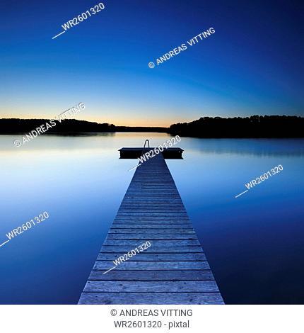 Bathing platform on a lake, Mecklenburg Lakeland, Mecklenburg-Western Pomerania, Germany