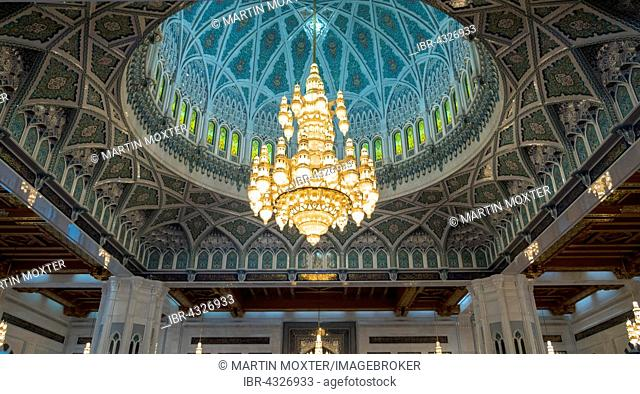 Chandeliers, ornate ceiling, Sultan Qaboos Grand Mosque, interior, Muscat, Oman