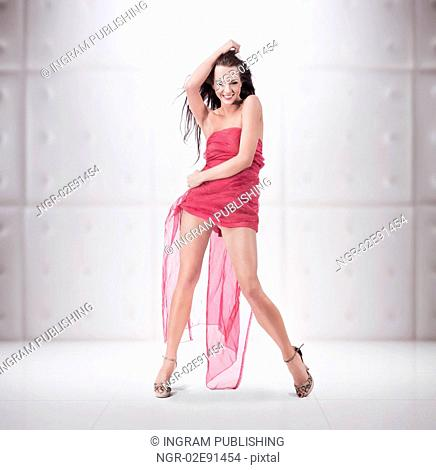 Young lady posing over white background