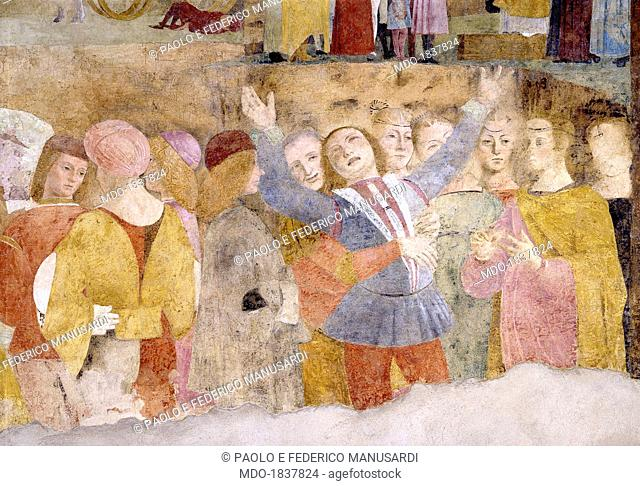 Grifi Chapel, by Bernardino Butinone, Bernardo Zenale, 1490, 15th Century, fresco . Italy, Lombardy, Milan, Churuch of Saint Peter in Gessate. Detail