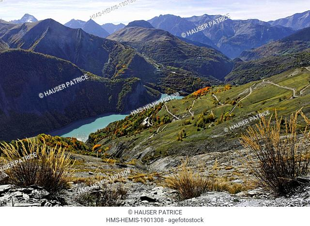 France, Isere, view of Chambon lake from the Emparis plateau on the edge of the Ecrins National Park