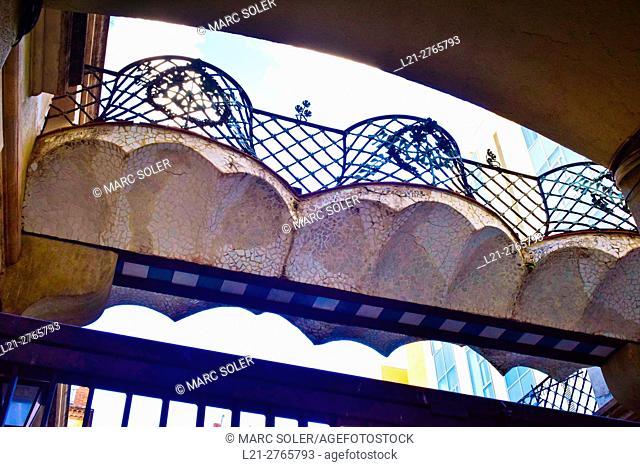 Bridge in modernist style. Barcelona, Catalonia, Spain