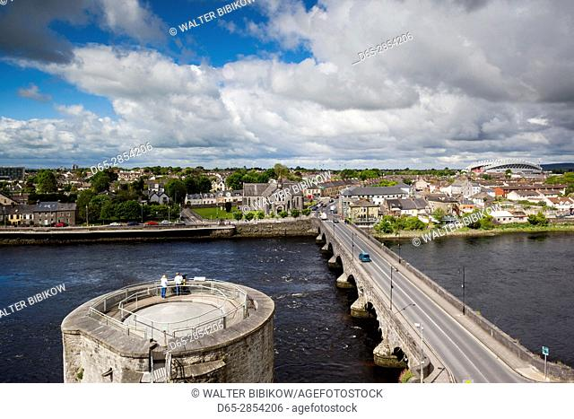 Ireland, County Limerick, Limerick City, King John's Castle, 13th century, elevated view with the River Shannon