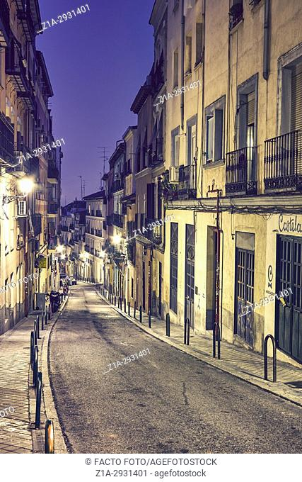 Narrow street at Lavapies neighbourhood. Madrid. Spain