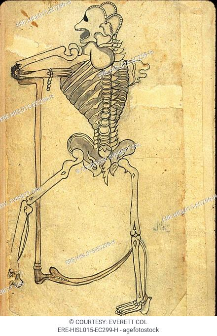 Human skeleton leaning on a pedestal drawn in ink and light-gray wash from a Persian translation of an Arabic medical book