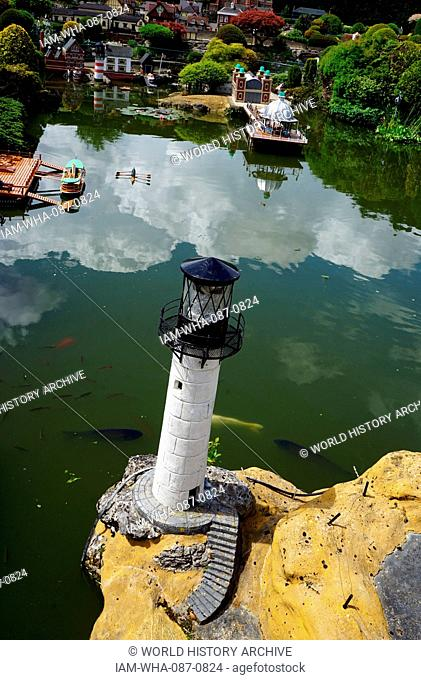 Harbour Lighthouse at Bekonscot in Beaconsfield, Buckinghamshire, England, is the oldest original model village in the world