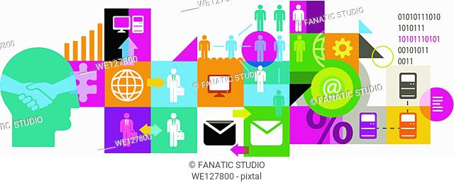 Illustrative image of collage representing business networking