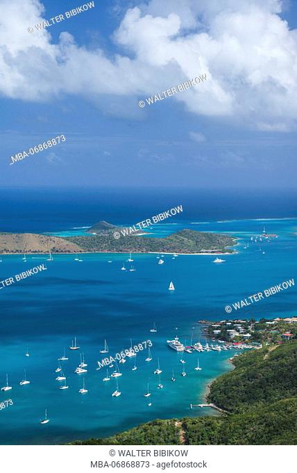 British Virgin Islands, Virgin Gorda, North Sound, elevated view of North Sound from Fanny Hill
